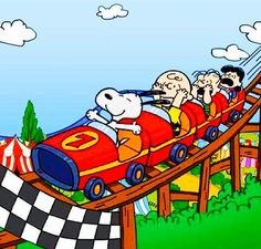 Snoopy... He's just like me on a roller coaster!  Love it!  :)