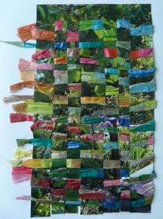 magazine page woven with scrunched tissue paper - LOTS of great weaving and textile ideas on this site. Worth a visit!