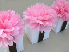 Favor Boxes with diy tissue paper flowers