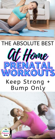 Looking for a great prenatal workout you can do at home? Check out these awesome pregnancy workouts split up by each trimester! Find prenatal exercise routines for the first trimester, second trimester, and third trimester for a healthy pregnancy all hand picked by a fitness trainer! With a plan like this, you can learn how to exercise safely in the 1st, 2nd, and 3rd trimesters right at home for a bump only fit pregnancy! #prenatalworkout #prenatalfitness #pregnancyworkout #healthypregnancy