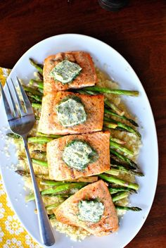 perfectly grilled salmon with lemon-dill butter, asparagus and (sub polenta for) cous cous