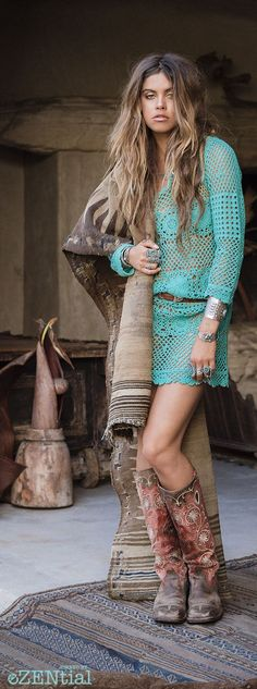 Boho crochet tunic sexy modern hippie gypsy style in turquoise. For the BEST Boh...