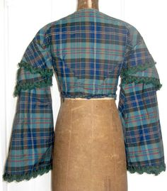 back - 19th C Antique Bodice Tartan Plaid Pagoda Sleeve Vintage Ladies Garment XS | eBay seller fuzzycupid; , all hand stitched with what looks like running back stitch, piped sleeve seam & neck edge with brown gingham binding on inside neck edge, lined with polished brown cotton, sleeves lined with an oil cloth, front hook & eye closure, from southern Indiana estate of Margaret Jane Apple