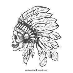 skull with feathers Nape Tattoo, Forarm Tattoos, Body Art Tattoos, Small Tattoos, Sleeve Tattoos, Indian Skull Tattoos, Skull Girl Tattoo, Tattoo Set, Chest Tattoo