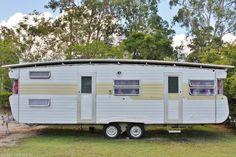 Vintage Viscount Royal Caravan 26ft Cabin Weekender Site Van Shed Donga Retro Chic Home Office with Tropical Roof ~ eBay #artcraftroom