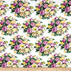Rayon Challis Summer Floral Purple from @fabricdotcom  This very lightweight rayon fabric is semi-sheer and has a beautiful fluid drape and soft hand. It is perfect for creating shirts, blouses, gathered skirts and flowing dresses with a lining. Colors include cream, tan, purple, yellow, and beige.
