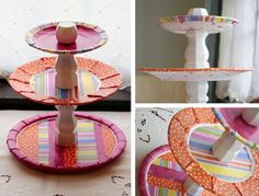 DIY Tiered Plate Stand using table legs or candle pillars! Made disposable ones w/ solo & paper cups & pretty paper plates. This should be stronger.