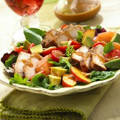 BBQ Pork Salad with Summer Fruits & Honey Balsamic Vinaigrette #recipe