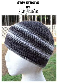 Stay Strong - free crochet beanie / chemo hat pattern by ELK Studio. I like the stripes on this one. Crochet Adult Hat, Bonnet Crochet, Crochet Beanie Pattern, Crochet For Boys, Free Crochet, Knit Crochet, Crochet Patterns, Hat Patterns, Mens Crochet Beanie