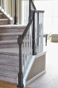 Relove: Painting My Wood Stair Banister Painted Stair Railings, Painted Wood Stairs, Stair Banister, Painted Staircases, Wood Railing, Wooden Stairs, Banisters, Railing Ideas, Stair Treads