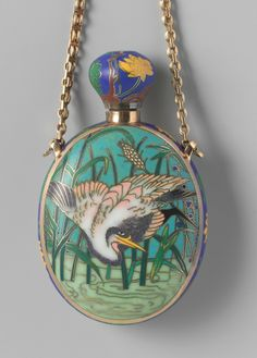 Enameled bottle with a representation of a  crane in a flowering tree, Maison Falize, enameled by Antoine Tard, designed by Alexis Falize, Paris, circa 1867