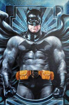 "Art by Fred Ian Day 5: Trinity: darkness Oil On Canvas / oil painting on canvas, 60 x 93 cm (23,62 ""x36, 6"") #FredIan #Batman #BruceWayne #TheDarkKnight #JusticeLeague #JL #Gotham"