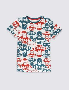 Pure Cotton Marvel Superheroes Print T-Shirt (5-14 Years)