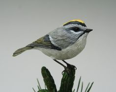 Golden-crowned Kinglet Wood Carving is a Collectible Hand Carved Songbird made for the Bird Lover, 5th Anniversary Gift for Him or Her by TurtleMtnArtistry on Etsy