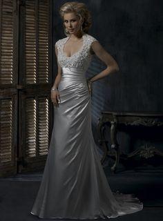 Sexy A-line backless satin wedding dress $382.00