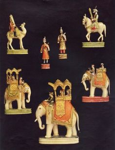 Pieces from an ivory chess set made in Delhi for Begum Samru in c.1790 (colour litho)