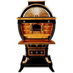 20th Century Viennese Biedermeier Style Lyre Secretaire | From a unique collection of antique and modern secretaires at https://www.1stdibs.com/furniture/storage-case-pieces/secretaires/