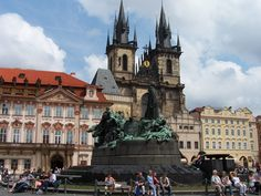 The Jan Hus Memorial stands at one end of Old Town Square, Prague in the Czech Republic
