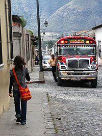 A chicken bus in Antigua