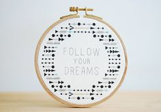 Quote Embroidery Hoop Try Try Try Tribal Feather and by inesrocio