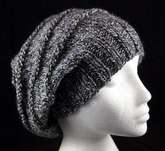 Hand knitted 'purl ridges' woollen slouchy beanie hat in 'Granite Marl' grey. Handknit hat. Knit hat. Wool hat