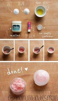 Una manera fácil de hacer tu propio exfoliante de labios! :3