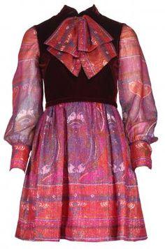 ADELE SIMPSON 1970'S BURGUNDY VELVET PRINT DRESS. Adele, 1970s Clothing, Ladies Day Dresses, Vintage Outfits, Vintage Fashion, Peasant Blouse, Retro Dress, Designer Clothing, Lust