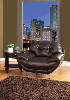 CHAIR SM6081-CH ESPRESSO COLLECTIONThis set has unique features, such as the seat cushions tucked under the rolled arms, curved chrome legs, and double-stitching on top. Sofa Chair Sale for $260
