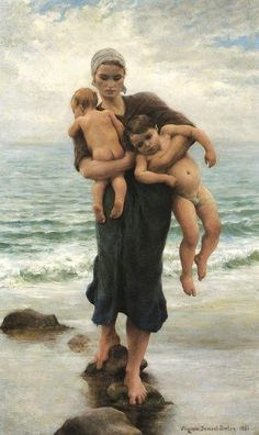 """Femme de pecheur venant de baigner ses enfants by Virginie Demont-Breton - I believe the translation is """"Fishers Wife returning from bathing her children"""" In any case I love the humanity of it. Jules Breton, La Madone, Female Painters, Art Gallery, Most Famous Paintings, French Artists, Mother And Child, Oeuvre D'art, Art History"""