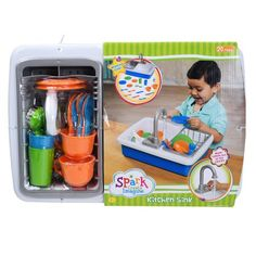 Spark Kitchen Sink Create Imagine Kids Play Toy Running Water Washing Dishes NEW Real Kitchen, Cute Kitchen, Kitchen Sinks, High Needs Baby, Baby Siting, Fruit And Vegetable Storage, Toys For 1 Year Old, Water Toys, Water Play