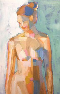 Artist: Teil Duncan, acrylic on birch wood {figurative #expressionist art nude female torso painting} teilduncan.com