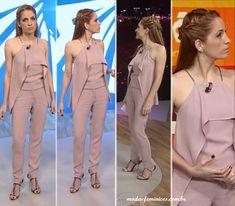 Meia trança e look rosa de Poliana Abritta no FANTÁSTICO 20 de Setembro 2015