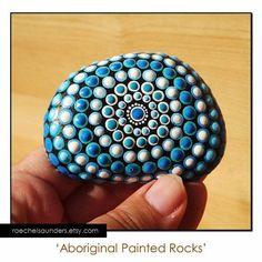 Painted Stone Aboriginal Dot Art Painted rock by RaechelSaunders Mandala Painting, Pebble Painting, Dot Painting, Pebble Art, Mandala Art, Stone Painting, Stone Crafts, Rock Crafts, Arts And Crafts