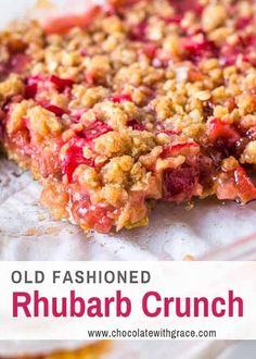 Rhubarb Crunch Easy Rhubarb Recipes, Rhubarb Desserts, Apple Crisp Recipes, Kid Desserts, Layered Desserts, Vegetarian Recipes, Snack Recipes, Cooking Recipes, Dessert Recipes