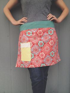 The Tiny Day Dreamer / Anthro Inspired Half Apron With Light Yellow Pocket & Blue Polk-a-dot Waistband