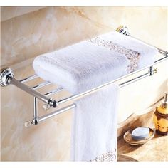 Modern Bathroom Accessories Electroplated Towel Rack Brass Towel Bar