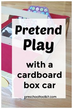 Recycle a cardboard box to make a pretend play prop for your toddler or preschooler. A kid-size roadster is an awesome invitation to play.  #pretendplay #recycled Small World Play, Diy Cardboard, Imaginative Play, Toddler Preschool, Pretend Play, Invitation, Awesome, Kids, Crafts