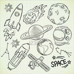space doodle set Stock Photo