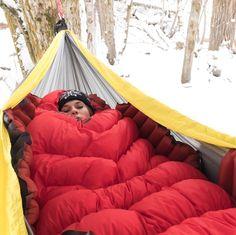 snow camping, all season camping, hammock life, lounging