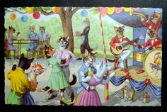 Vintage Alfred Mainzer Postcard Dressed Cats Outdoor Dance Party Band | eBay