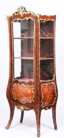 19th c Louis XV Style Bombe Vitrine