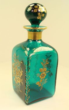Antique Teal glass Decanter  hand painted gold accents and transfer design with Pontil