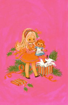Vintage Christmas Card Girl with Doll Gift by TheVintageGreeting