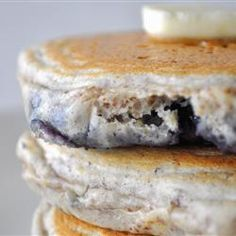 Breakfast And Brunch, Blueberry Flax Pancakes, Fluffy Pancakes With Ground Flax Seed And Blueberries For A Healthier, Fiber Filled Pancake. Breakfast And Brunch, Pancakes And Waffles, Fluffy Pancakes, Blueberry Pancakes, Blueberry Picking, Blueberry Recipes, Flax Seed Pancakes, Blueberry Compote, Gourmet