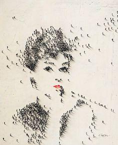 Audrey Hepburn in Breakfast at Tiffany's using humans as pixels - Craig Alan