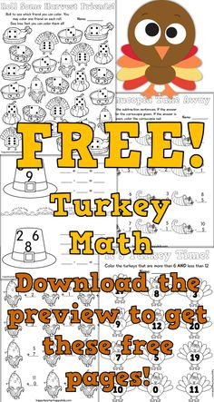 Turkey Math! Download the preview for 5 free, ready to print activities. No prep! School Holidays, School Fun, Sunday School, School Stuff, School Ideas, Holiday Activities, Math Activities, Thanksgiving Preschool, Kindergarten Fun