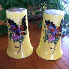 Vintage Hand Painted Butterfly Salt and Pepper Shakers