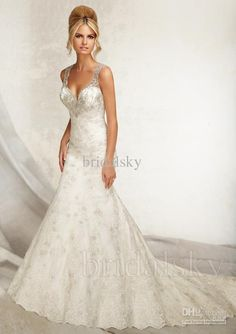 Wholesale Spaghetti straps Court Train A-Line Appliques Beaded Sleeveless Wedding Gowns Bridal