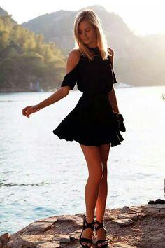 Black mini dress #fashion