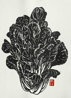 Tat Soi Hand-printed Block Print